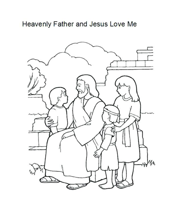 600x779 Stunning Jesus Loves The Children Coloring Page