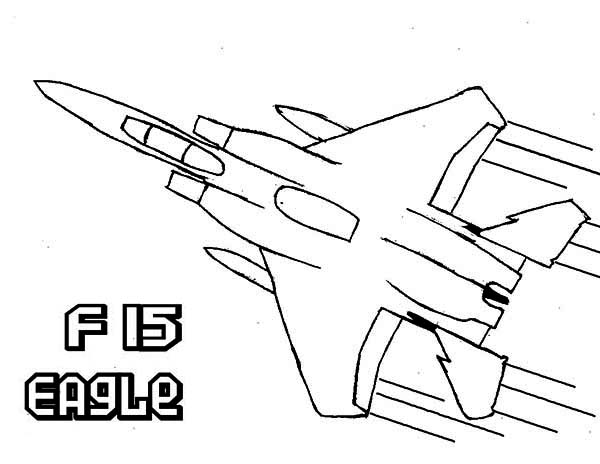 600x464 Airplane F15 Eagle Super Jet Fighter Coloring Page