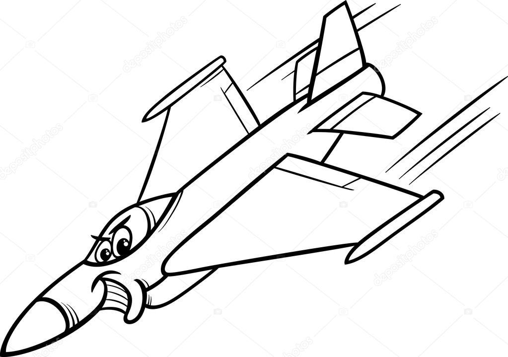 1023x719 Jet Fighter Plane Coloring Page Stock Vector Izakowski