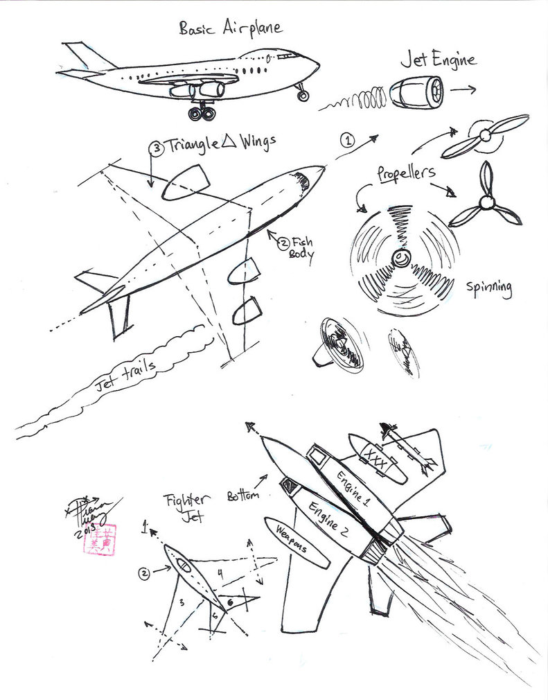 791x1010 Draw Airplane And Jet By Diana Huang