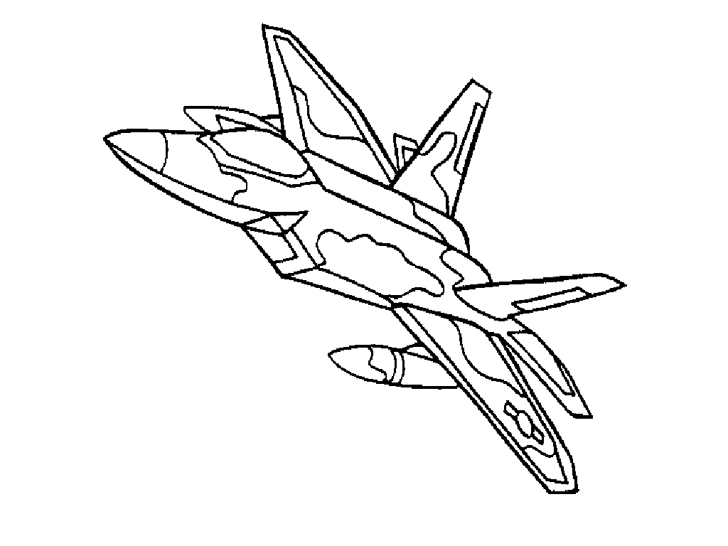 1024x768 Fighter Jet Coloring Page Free Download
