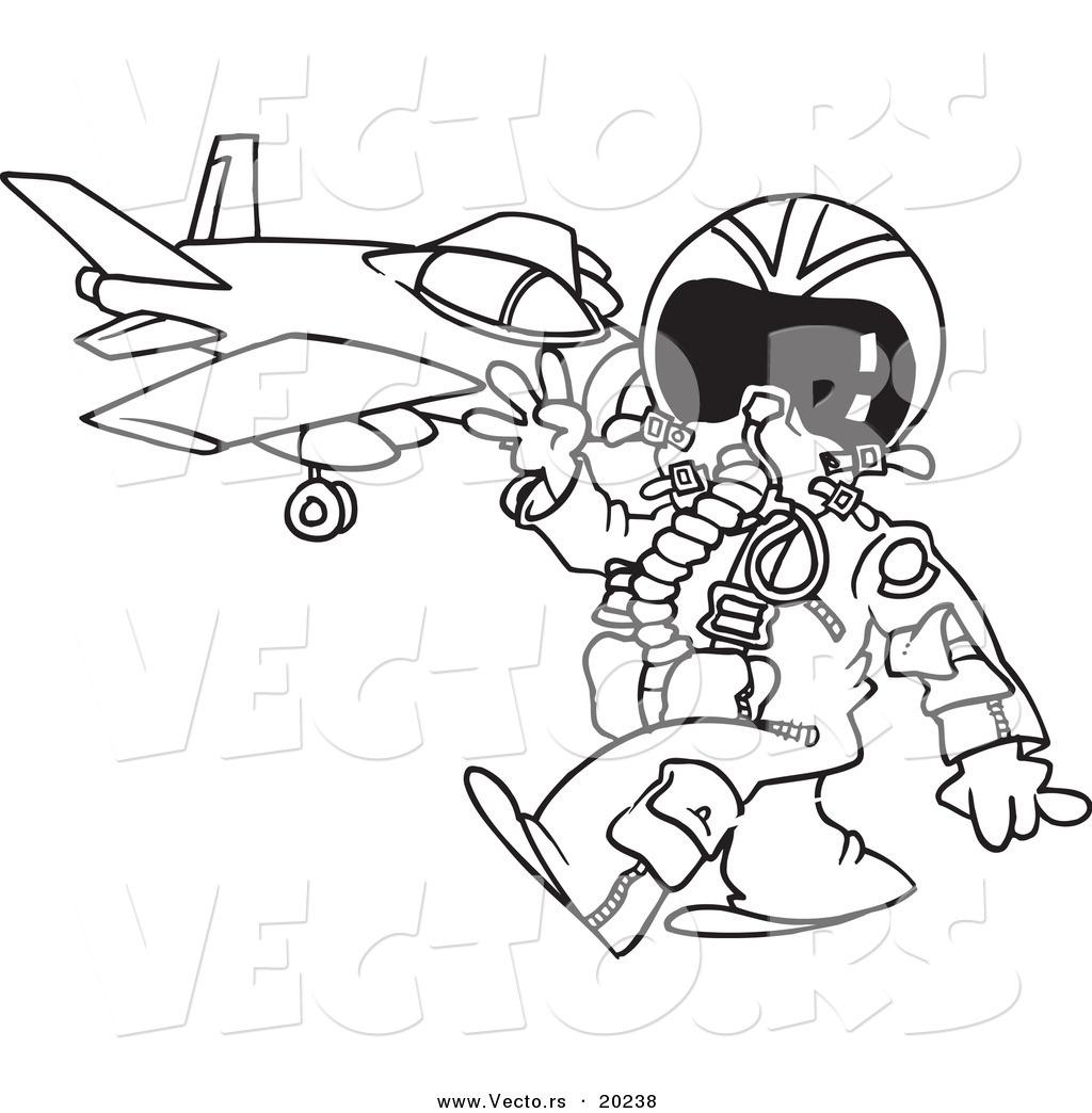1024x1044 Vector Of A Cartoon Fighter Pilot Near His Jet