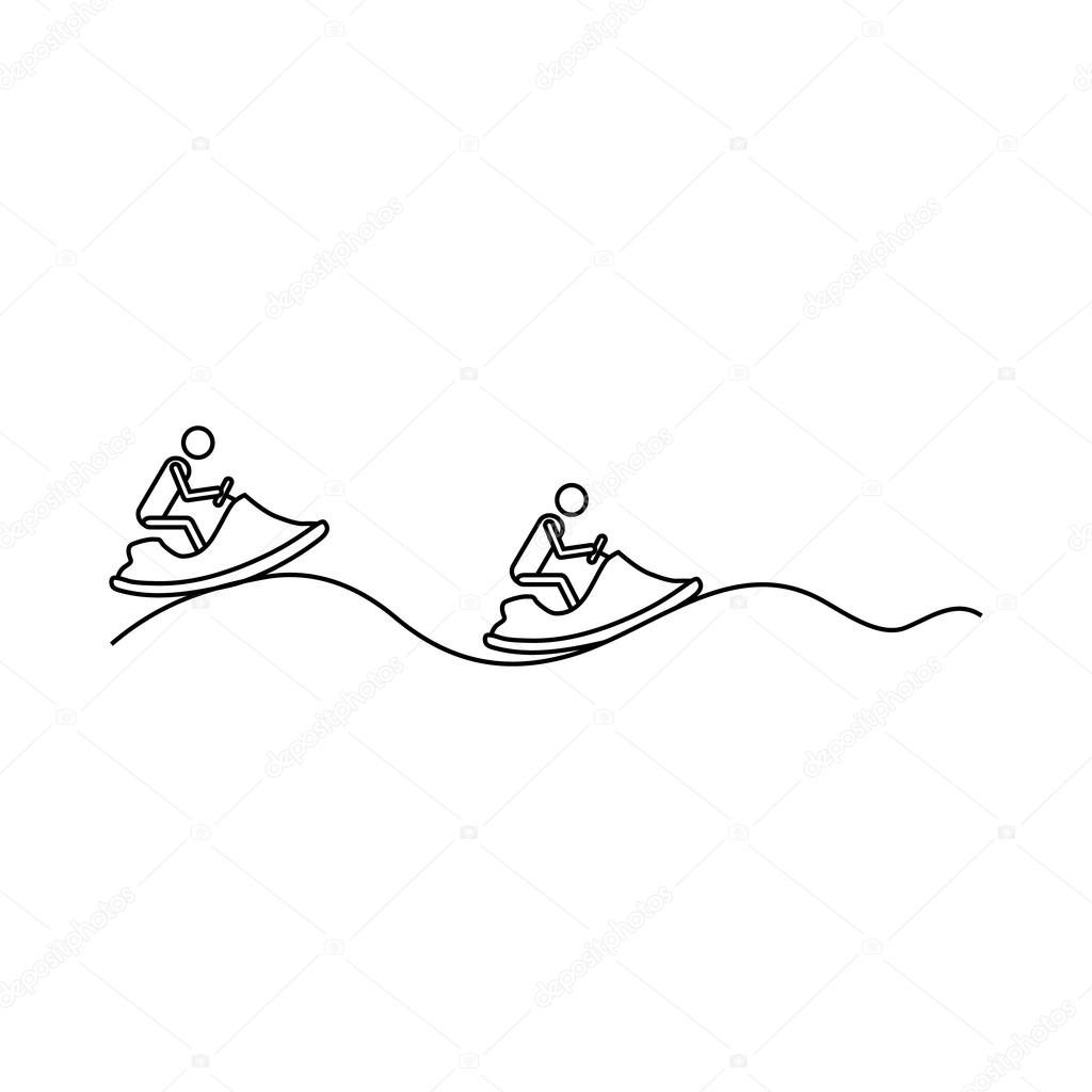 1024x1024 Jet Ski Icon, Outline Style Stock Vector Ylivdesign