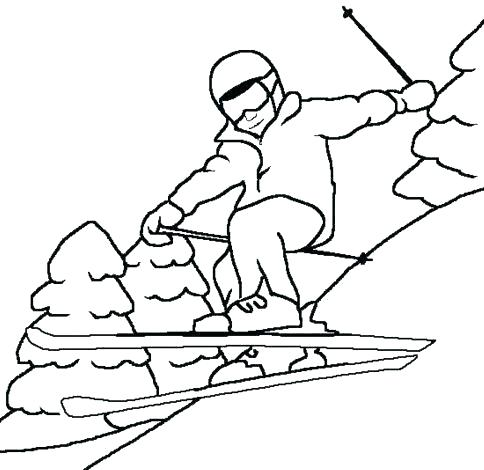 484x470 Skiing Coloring Pages