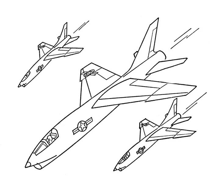 734x600 Jet Fighters Formation Coloring Page Jet Fighters Formation