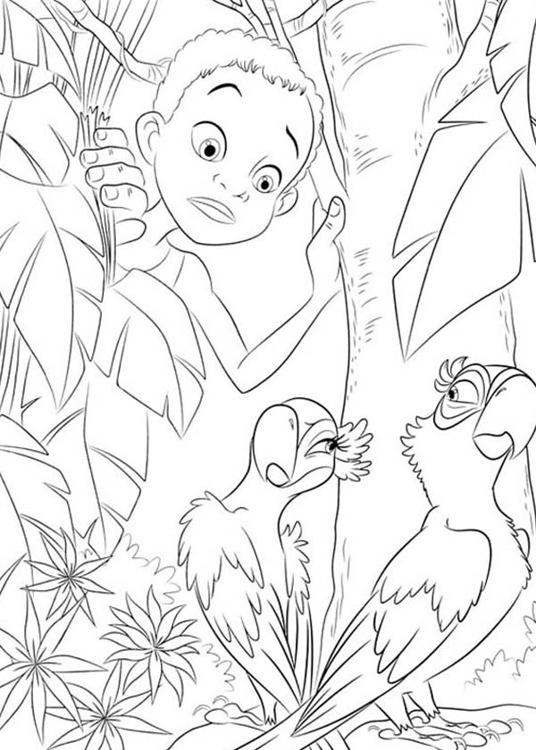 600x840 Jewel Playing Hard To Get With Blu In Rio Movie Coloring Pages