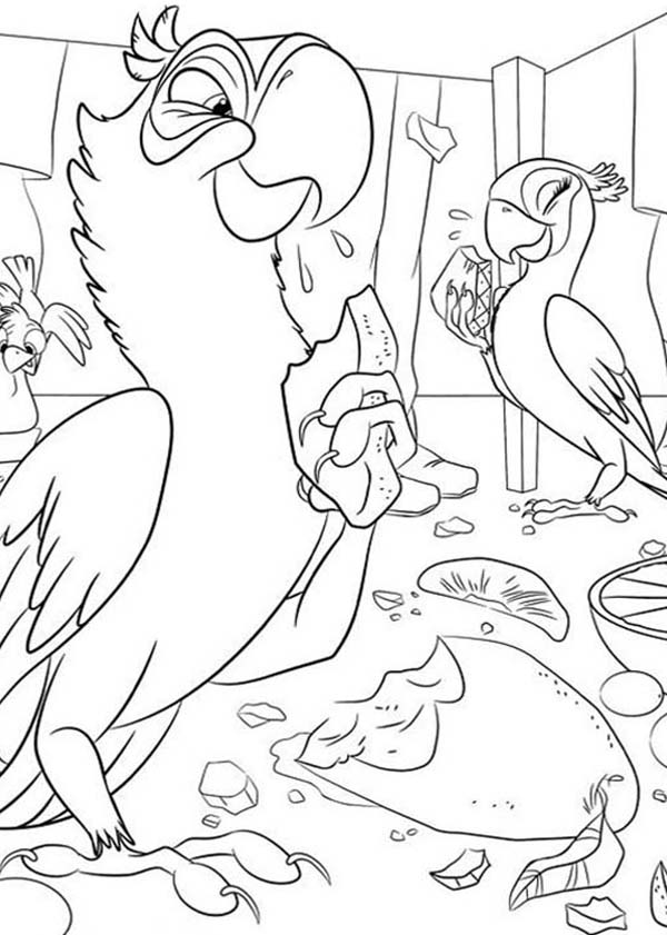 600x841 Jewel And Blu Eating Fruit From Jungle In Rio Movie Coloring Pages
