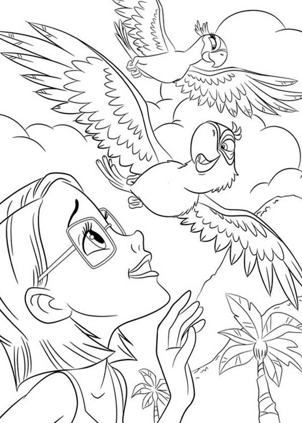 600x840 linda watching blu fly with jewel in rio movie coloring pages