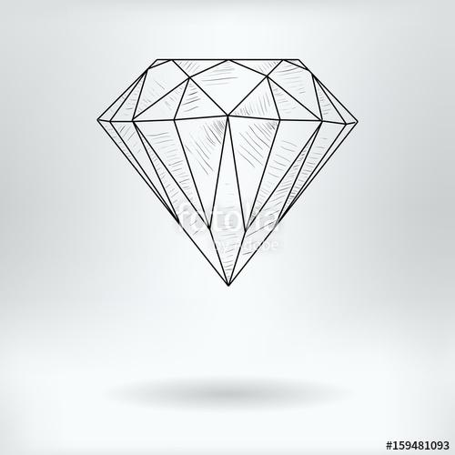500x500 Cartoon Symbol Of Faceted Diamond