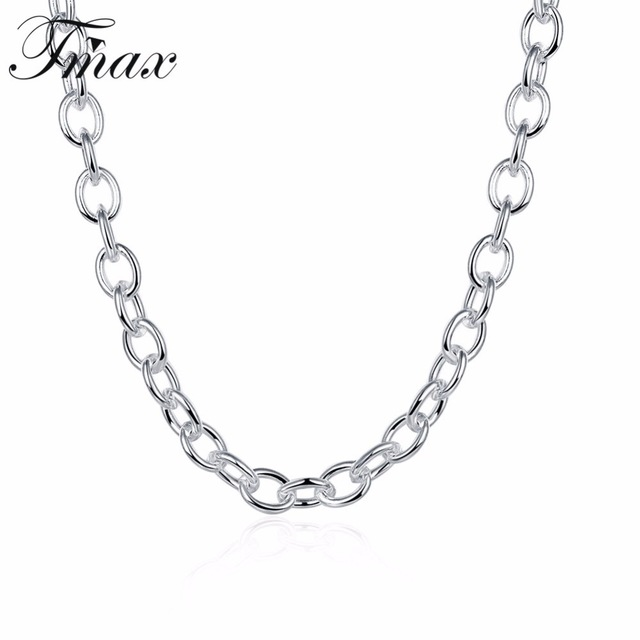 640x640 Shrimp Buckle Men Silver Plated Rolo Chains Necklaces Trendy