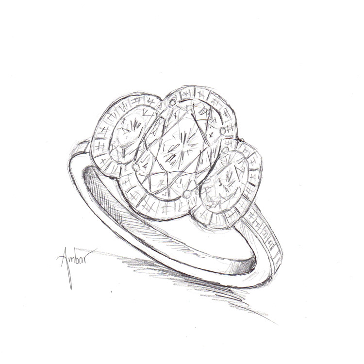 750x750 Three Stone Oval Engagement Ring Drawing