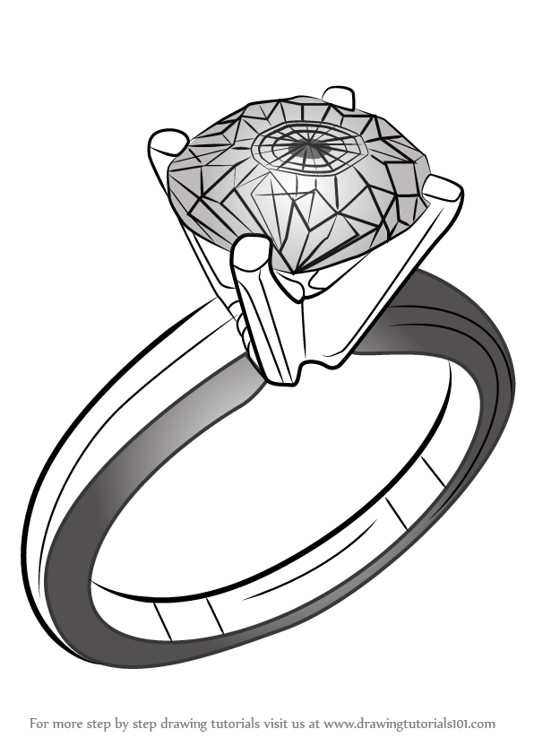 596x842 Learn How To Draw A Diamond Ring (Jewellery) Step By Step