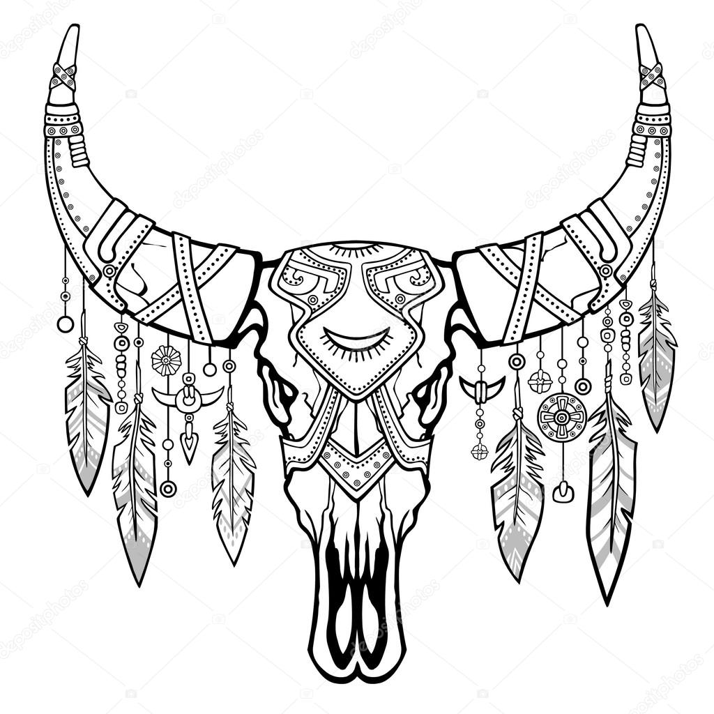 1024x1024 Fantastic Skull Of A Bull. Ethnic Jewelry And Beads, Indian
