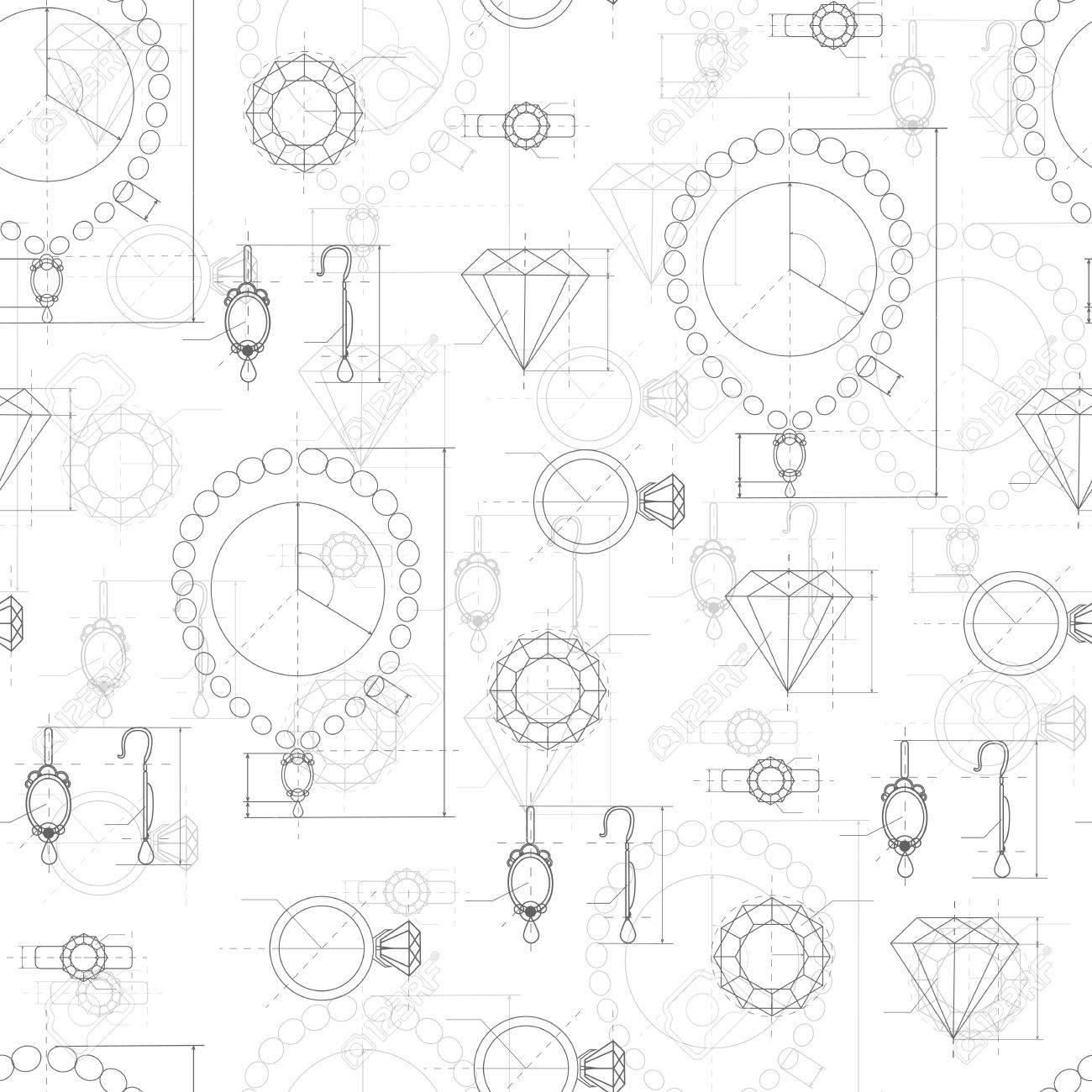 1300x1300 Jewelry Production Sketch Seamless Pattern. Hand Drawn Sketch