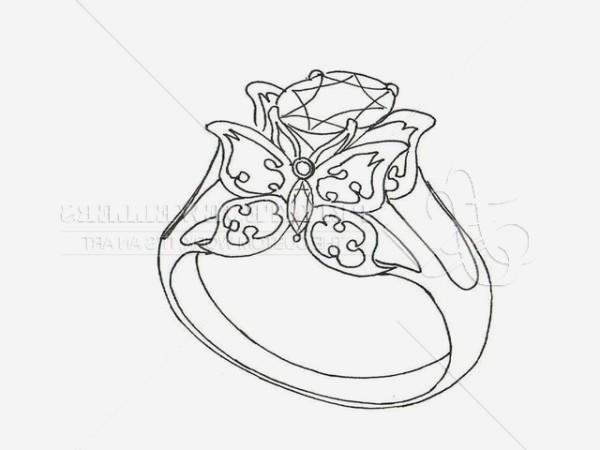 600x450 Unique Diamond Ring Drawing