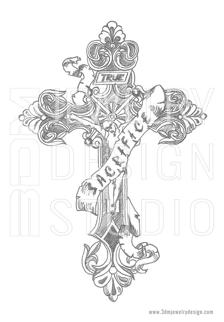 713x1024 Custom Design Sketch Of Gothic Cross Jewelry Designer Silver