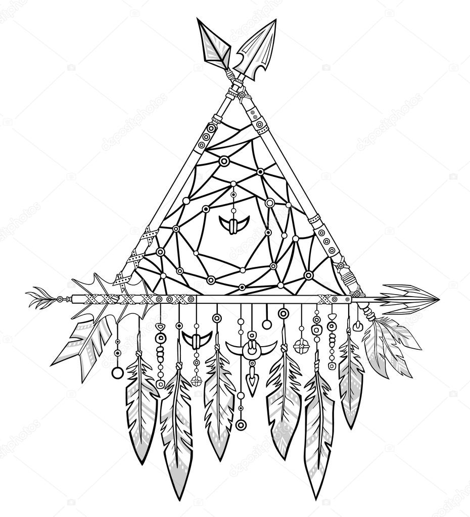 930x1023 Decorative Triangle From Arrows. Jewelry Feathers And Beads