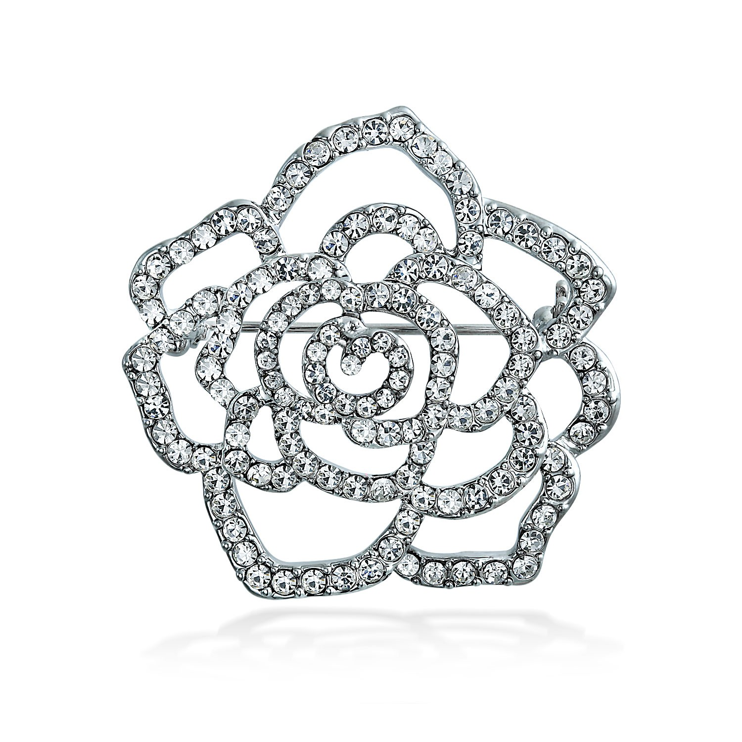 1500x1500 Pave Clear Crystal Outline Flower Brooch Rose Pin