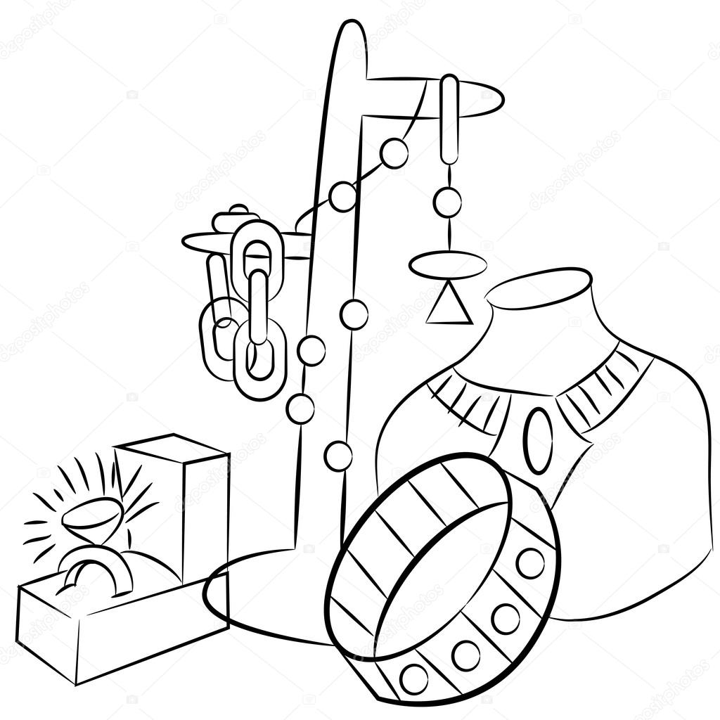 1024x1024 Collectible Antiques Jewelry Drawing Stock Vector