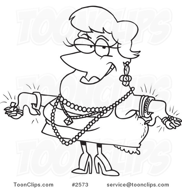 581x600 Cartoon Black And White Line Drawing Of A Lady Wearing Jewels