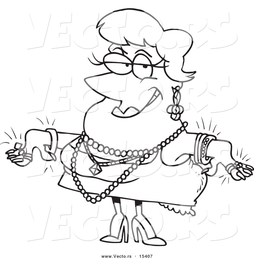 1024x1044 Vector Of A Cartoon Woman Wearing Jewels