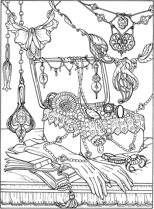 650x879 Printable Coloring Page By Dover Publications Art Nouveau Jewelry