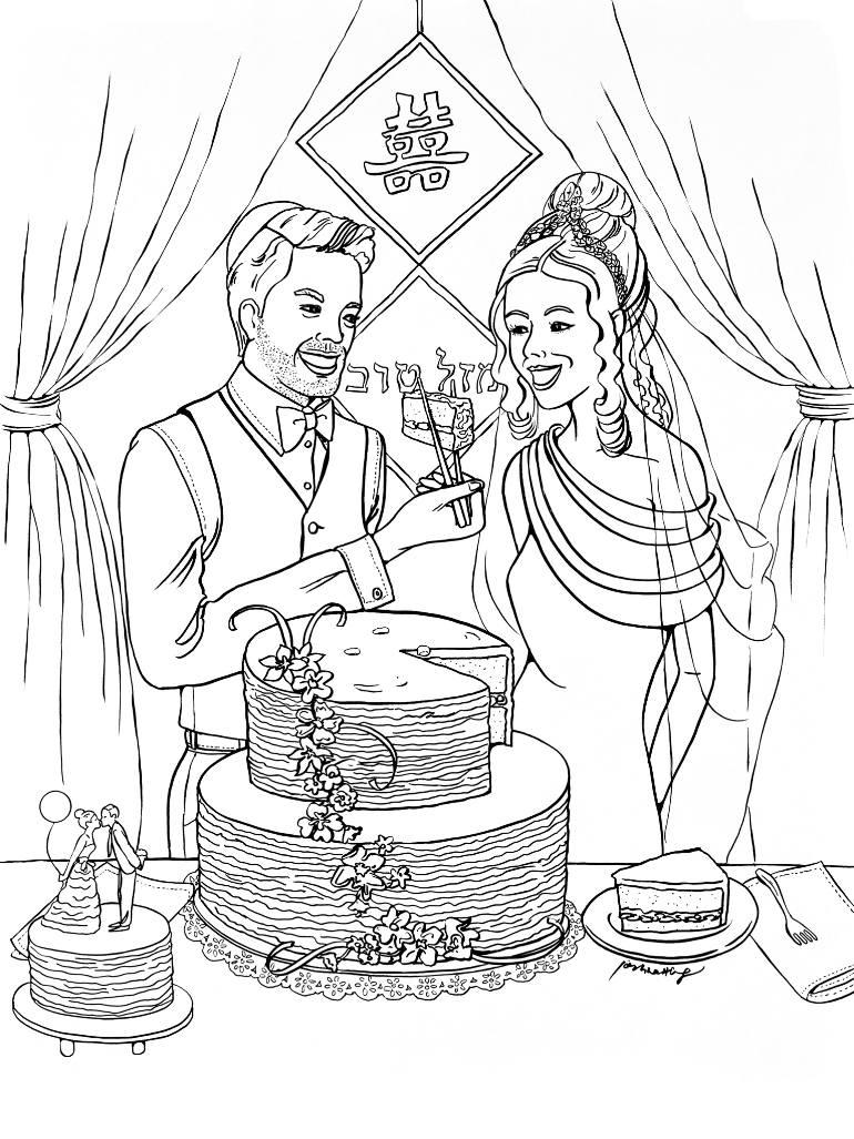 770x1027 Saatchi Art W2421 Jewish Chinese Wedding Drawing By Joshua Wong