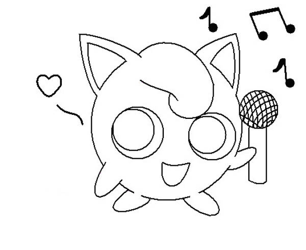 600x490 Jigglypuff Holding Microphone Coloring Page
