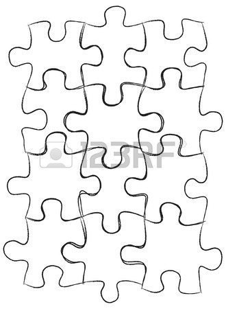 330x450 Jigsaw Puzzle Iconssketched Up Outline, Vector Illustration Eps