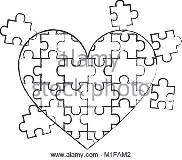 364x320 Jigsaw Puzzle Heart Pieces Connect Solution Stock Vector Art