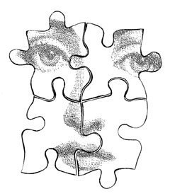 240x277 Items Similar To Puzzle Pieces Woman Face Cling Rubber Stamp By