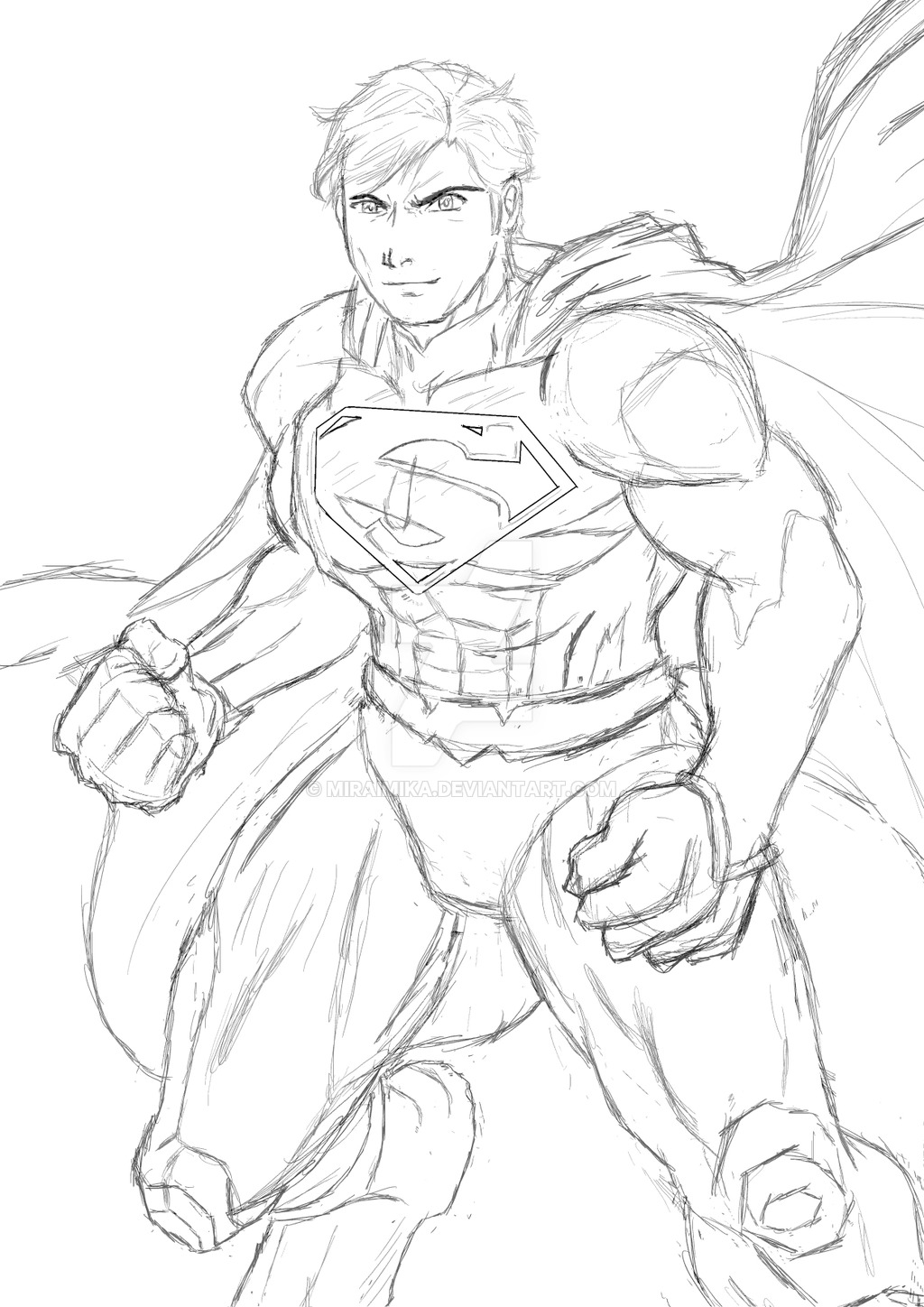 1024x1448 Superman Sketch Attempt From Jim Lee's Comic By Miraimika