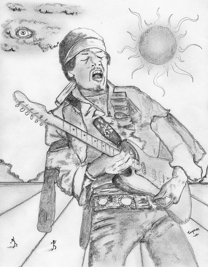 700x900 Jimi Hendrix Drawing By Dan Twyman