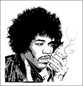 289x300 Jimi Hendrix Vinyl Sticker Decal 3 Sizes Vinyl Bumper Wall Rock