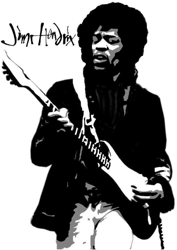 601x849 Stencil Of Jimi Hendrix By Trif0n Stencils 2 Pinterest