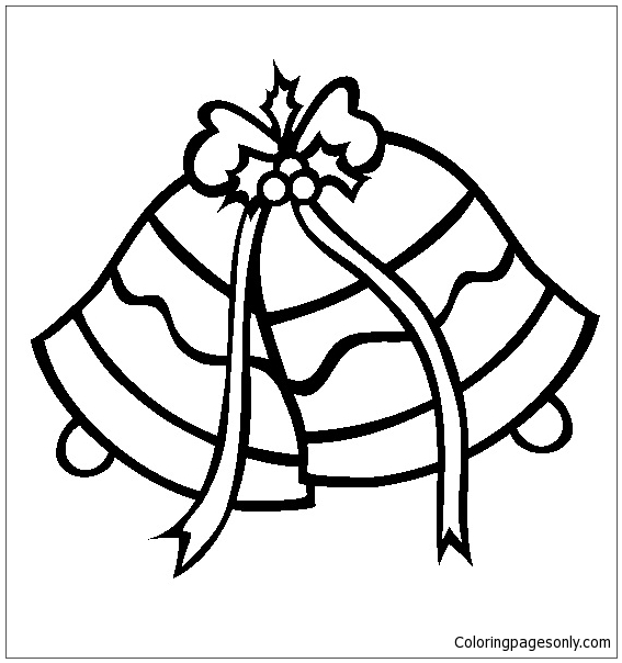 567x604 Christmas Silver Jingle Bells Coloring Page