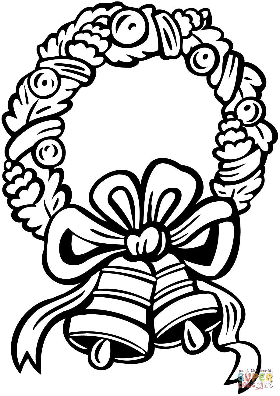 919x1300 Christmas Wreath With Jingle Bells Coloring Page Free Printable