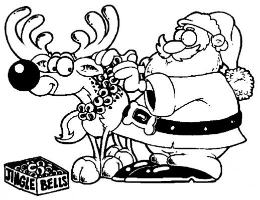 518x399 Santa Puts Some Jingle Bells On Reindeer's Neck For Christmas