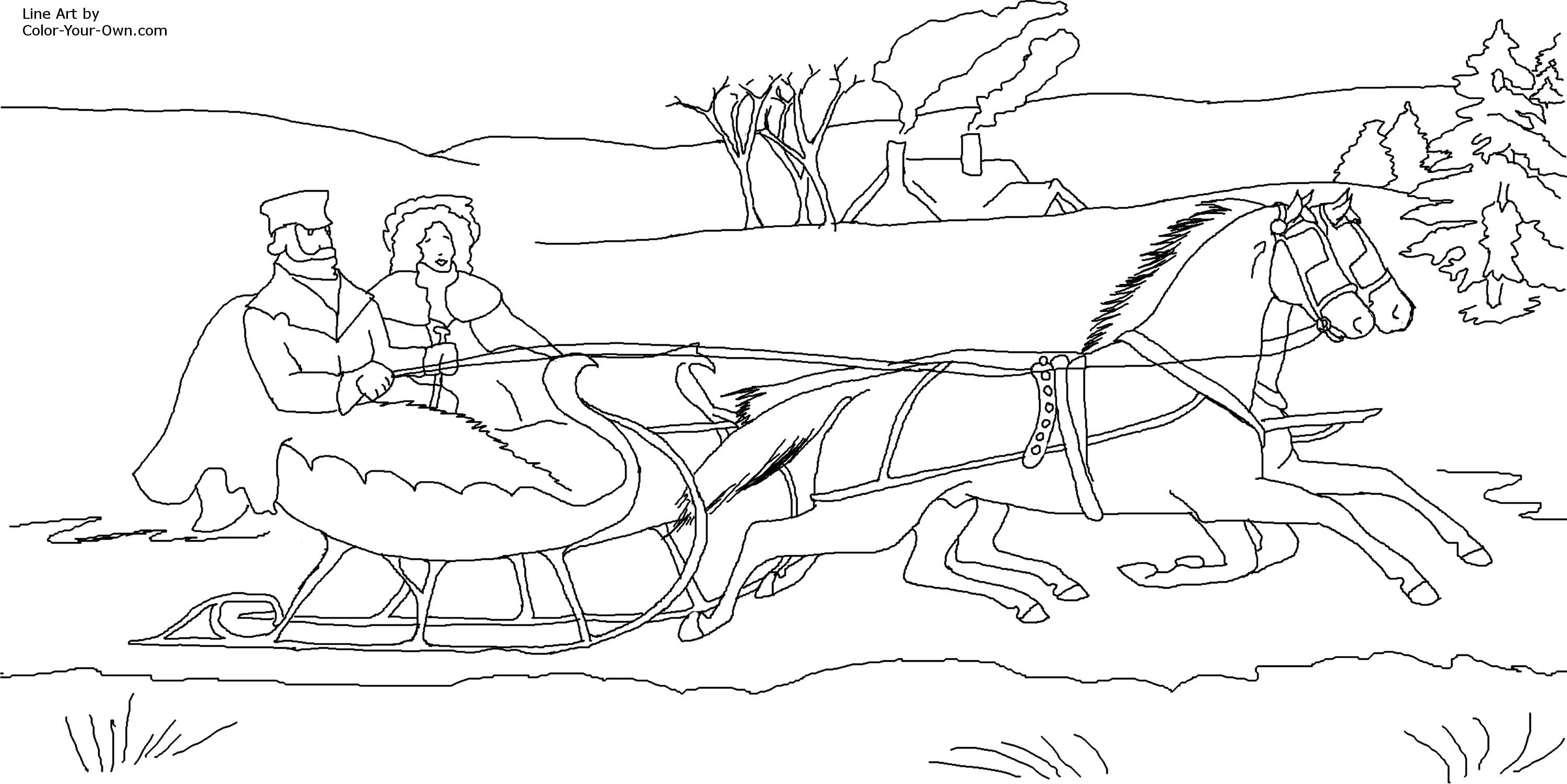 3000x1501 Christmas Jingle Bells Sleigh Coloring Page