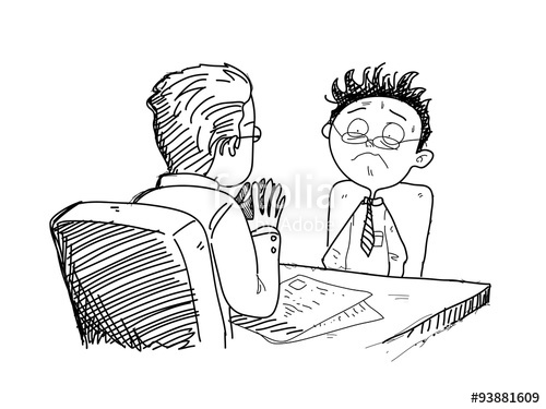 500x375 Job Interview, A Hand Drawn Vector Doodle Illustration Of A Job