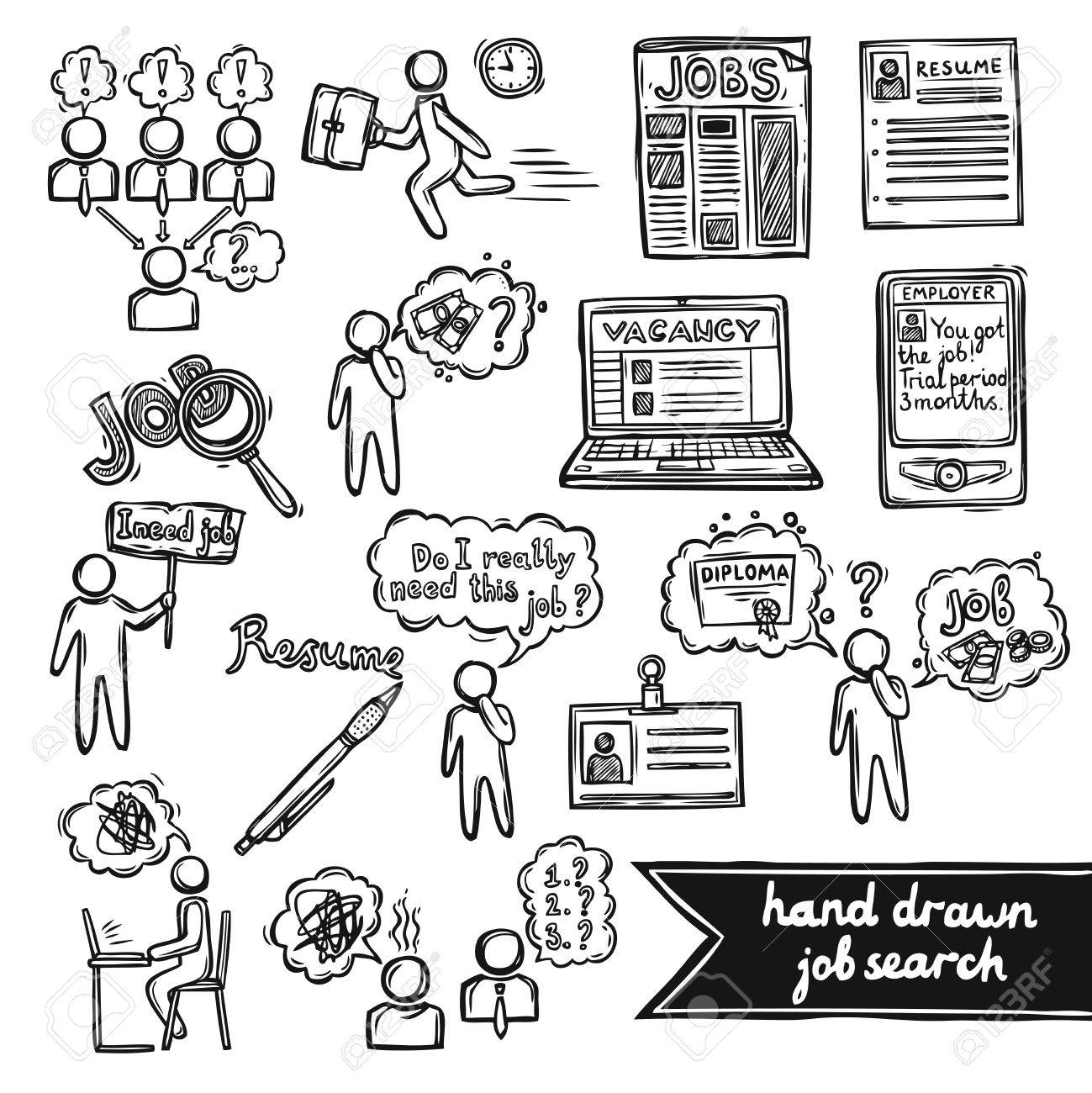1299x1300 Job Interview Sketch Decorative Icons Set With Job Search