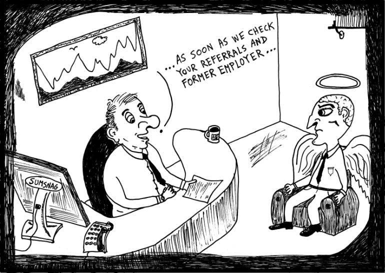 770x546 Saatchi Art Job Interview Cartoon Drawing By Yasha Harari