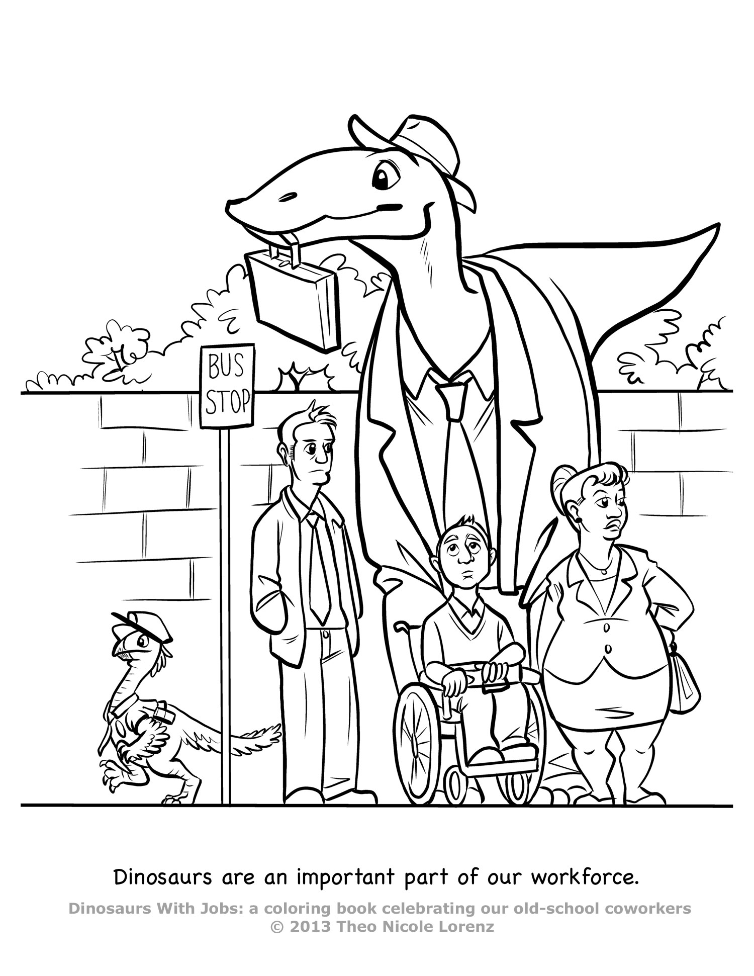 1500x1941 Dinosaurs With Jobs! Free Coloring Pages! Art Giveaway! Theo