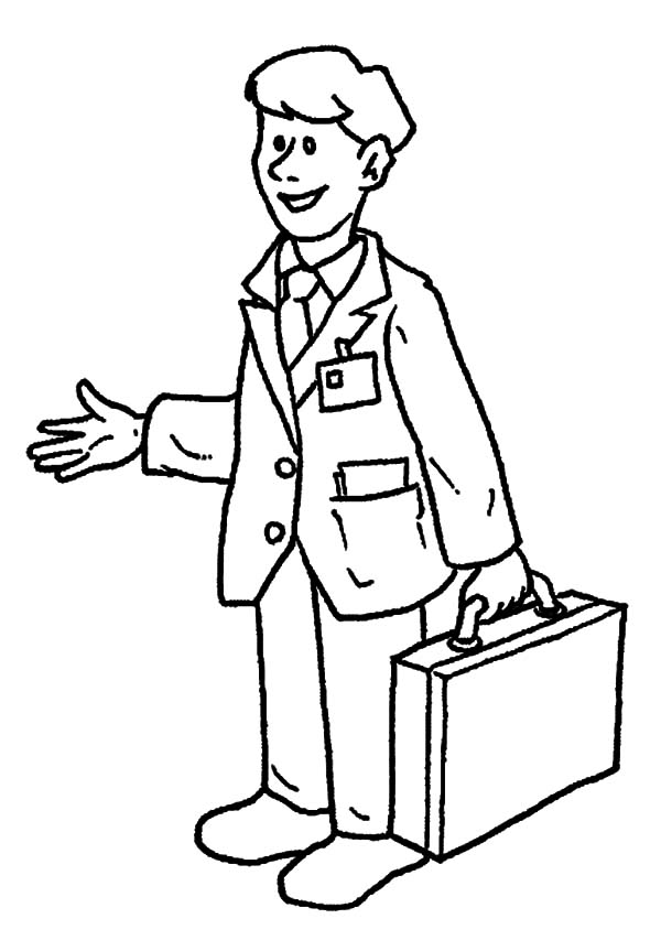 600x863 Insider Person Coloring Page Business Man On Jobs Pages Batch