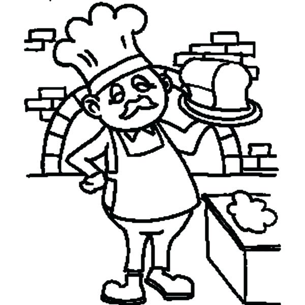 600x600 Jobs Coloring Baker With Bread On Jobs Coloring Pages Jobs