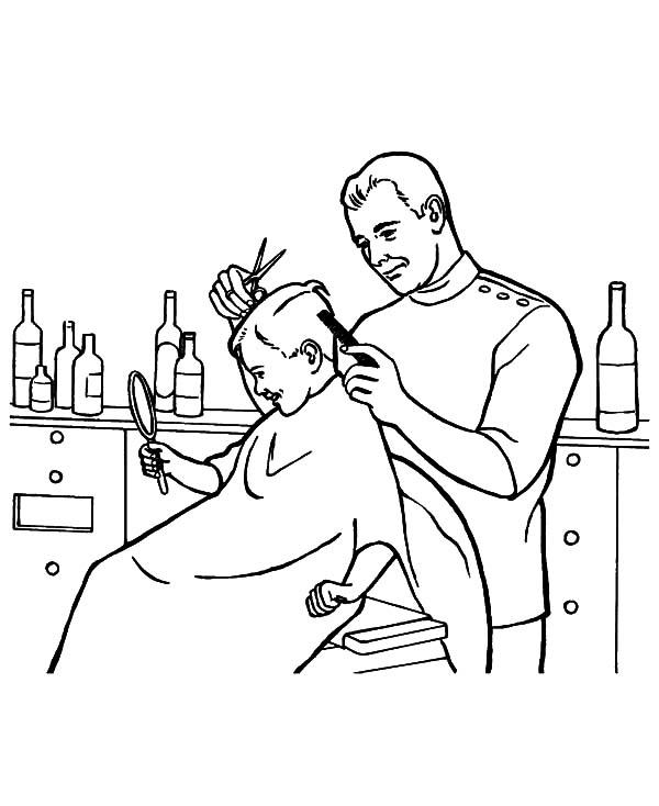 600x734 Barber Job Is To Cut Hair Coloring Pages Batch Coloring
