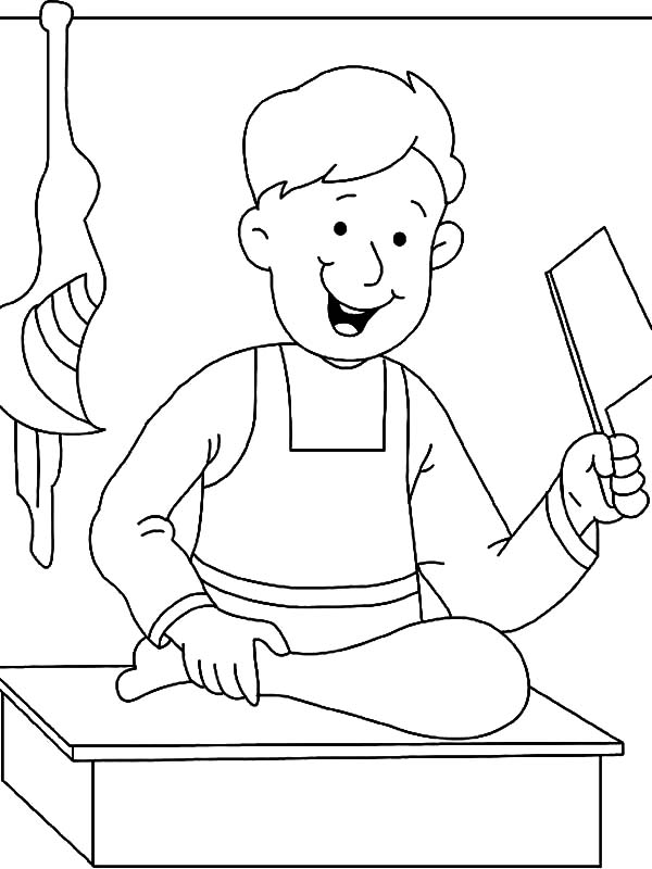 600x800 Butcher Cutting Meat On Jobs Coloring Pages Batch Coloring