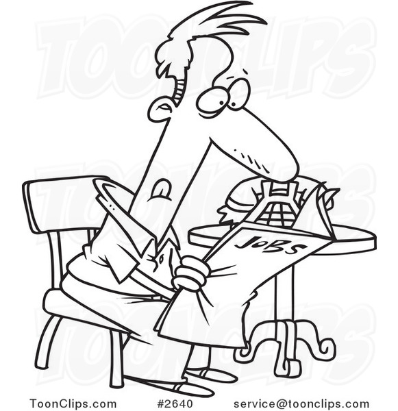 581x600 Cartoon Black And White Line Drawing Of An Unemployed Guy
