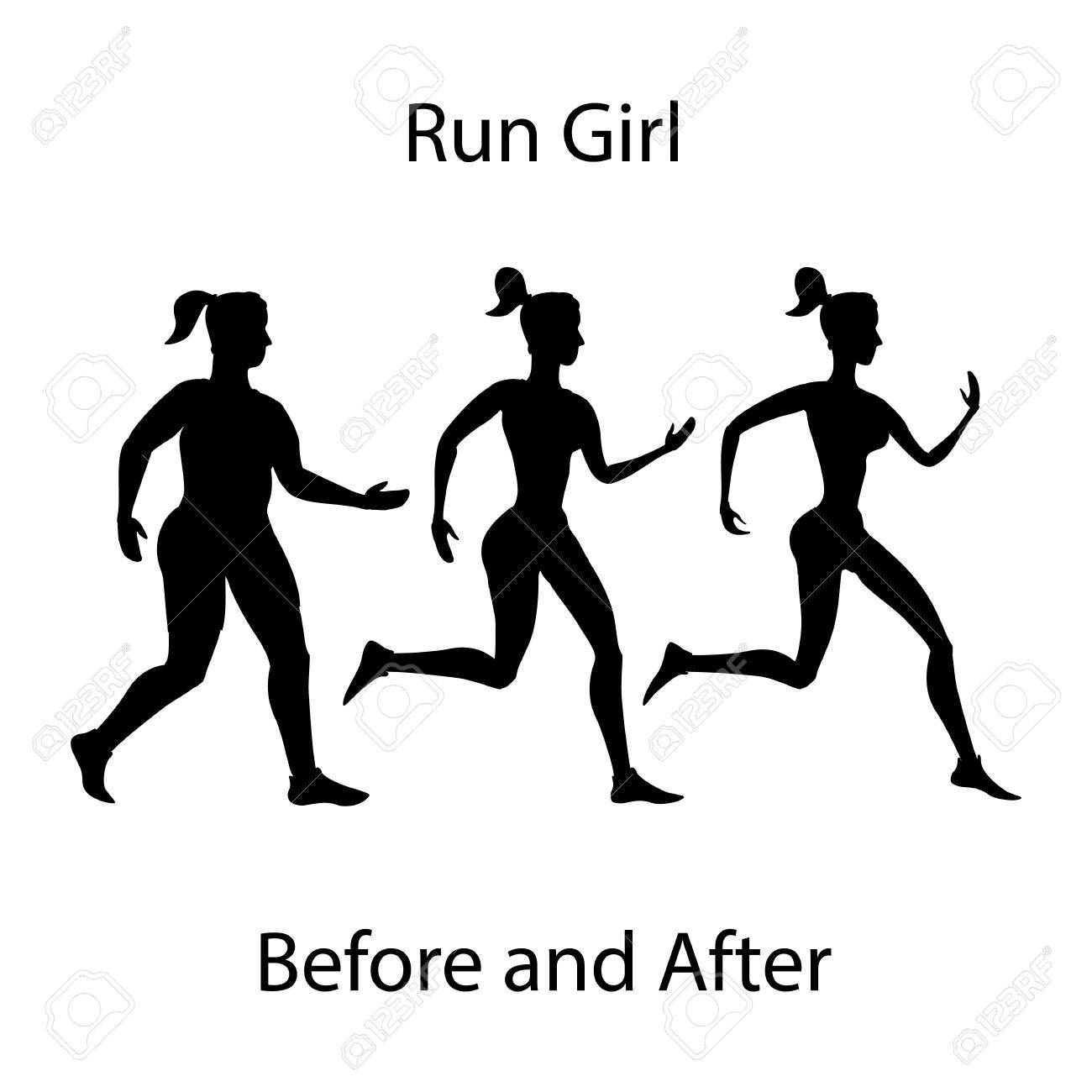 1300x1300 Simple Cartoon Of A Woman Jogging, Before And After Exercise