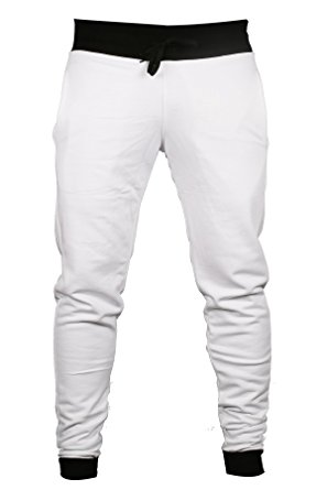297x445 Men's Designer Zely's Slim Fit Cuffed Joggers Bottom Pants White